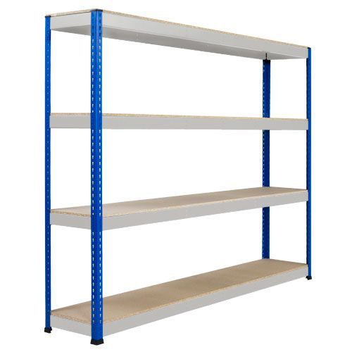 Rapid 1 Heavy Duty Shelving (1980h x 2134w) Blue & Grey - 4 Chipboard Shelves