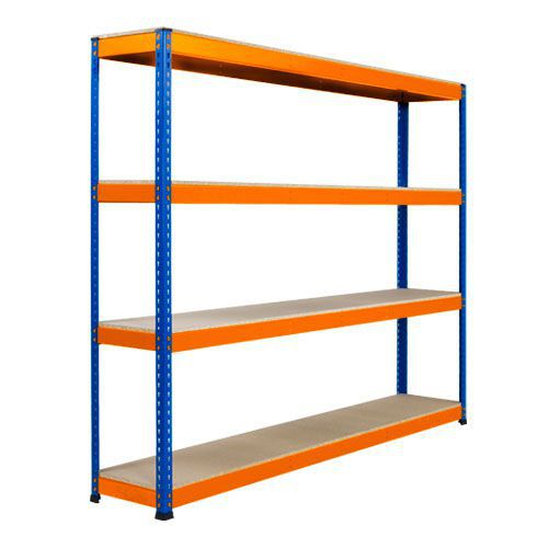 Rapid 1 Heavy Duty Shelving (1980h x 2134w) Blue & Orange - 4 Chipboard Shelves