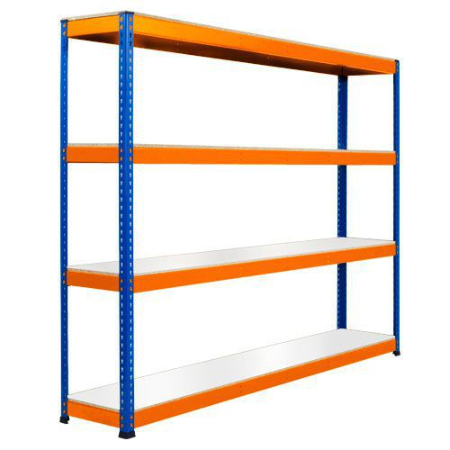 Rapid 1 Heavy Duty Shelving (1980h x 2134w) Blue & Orange - 4 Melamine Shelves