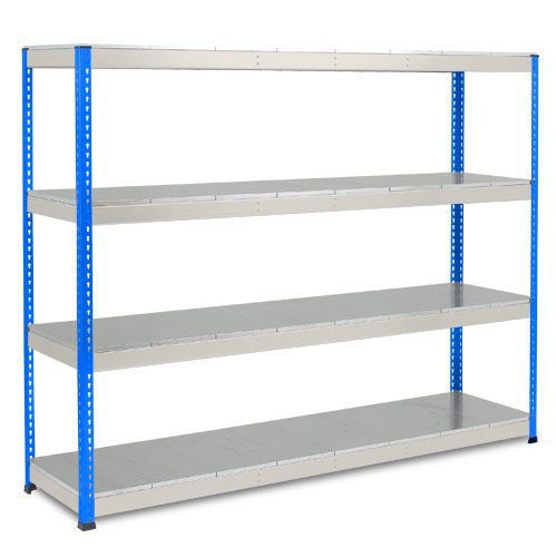 Rapid 1 Heavy Duty Shelving (1980h x 2440w) Blue & Grey - 4 Galvanized Shelves