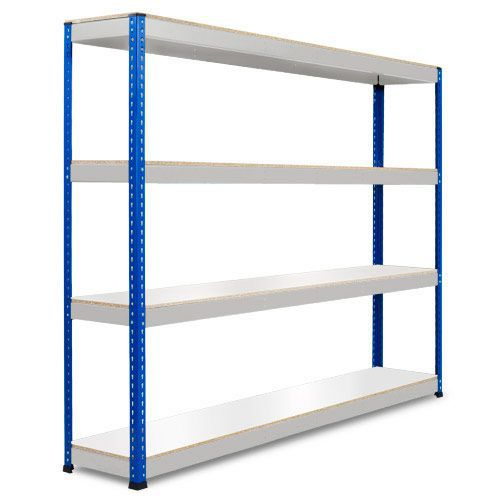 Rapid 1 Heavy Duty Shelving (1980h x 2440w) Blue & Grey - 4 Melamine Shelves