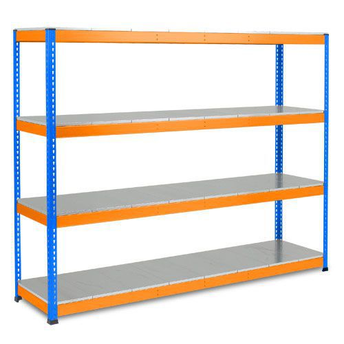 Rapid 1 Heavy Duty Shelving (1980h x 2440w) Blue & Orange - 4 Galvanized Shelves