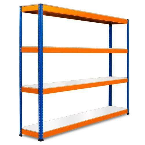 Rapid 1 Heavy Duty Shelving (1980h x 2440w) Blue & Orange - 4 Melamine Shelves