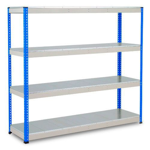 Rapid 1 Heavy Duty Shelving (2440h x 1830w) Blue & Grey - 4 Galvanized Shelves