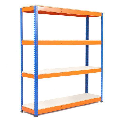 Rapid 1 Heavy Duty Shelving (2440h x 1830w) Blue & Orange - 4 Melamine Shelves