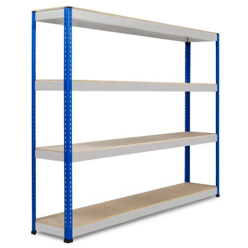 Rapid 1 Heavy Duty Shelving (2440h x 2440w) Blue & Grey - 4 Chipboard Shelves
