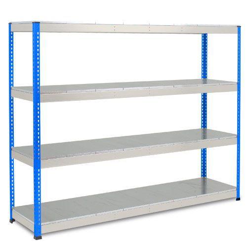 Rapid 1 Heavy Duty Shelving (2440h x 2440w) Blue & Grey - 4 Galvanized Shelves