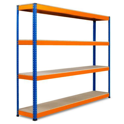 Rapid 1 Heavy Duty Shelving (2440h x 2440w) Blue & Orange - 4 Chipboard Shelves