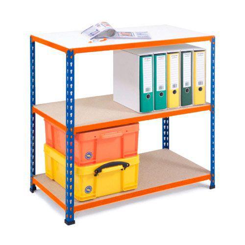 Rapid 2 Shelving (840h x 915w) Blue & Orange - 3 Chipboard Shelves