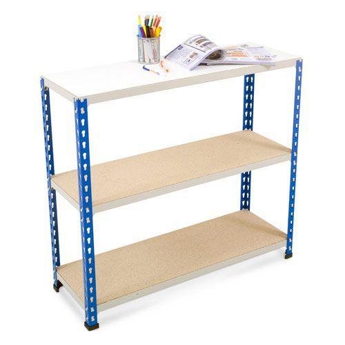 Rapid 2 Shelving (915h x 915w) Blue & Grey - 3 Chipboard Shelves