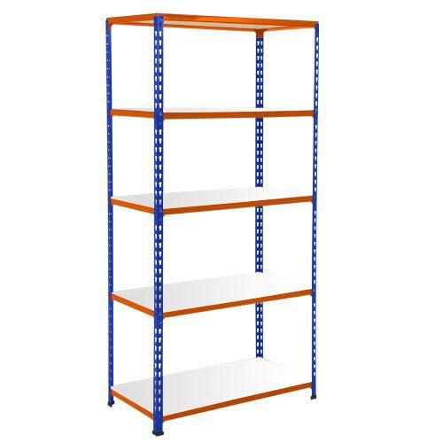 Rapid 2 Shelving (1600h x 915w) Blue & Orange - 5 Melamine Shelves