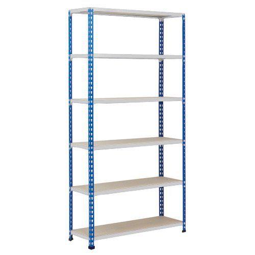 Rapid 2 Shelving (1600h x 915w) Blue & Grey - 6 Chipboard Shelves