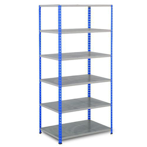 Rapid 2 Shelving (1600h x 915w) Blue & Grey - 6 Galvanized Shelves