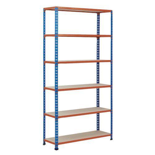 Rapid 2 Shelving (1600h x 915w) Blue & Orange - 6 Chipboard Shelves
