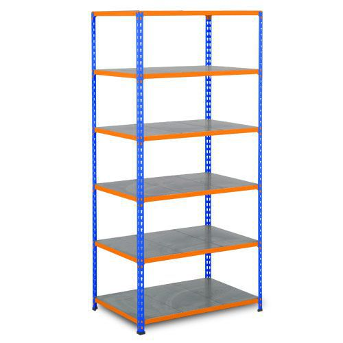 Rapid 2 Shelving (1600h x 915w) Blue & Orange - 6 Galvanized Shelves