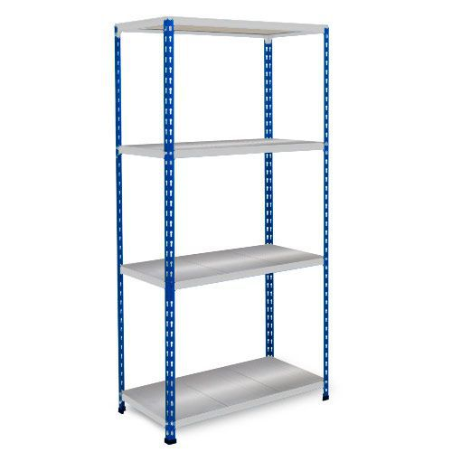 Rapid 2 Shelving (1600h x 915w) Blue & Grey - 4 Galvanized Shelves
