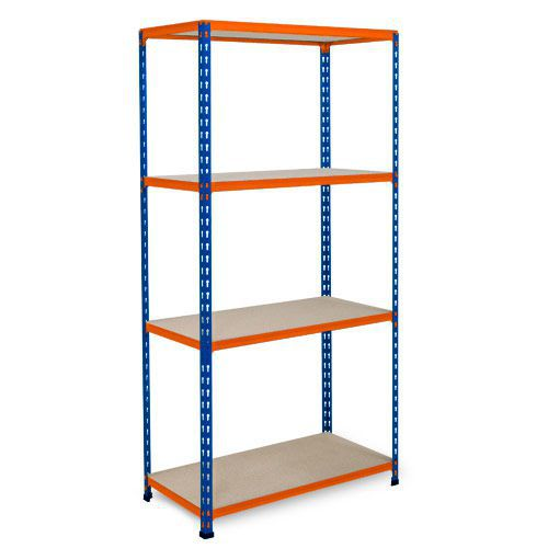 Rapid 2 Shelving (1600h x 915w) Blue & Orange - 4 Chipboard Shelves
