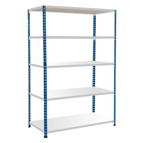 Rapid 2 Shelving (1600h x 1220w) Blue & Grey - 5 Melamine Shelves