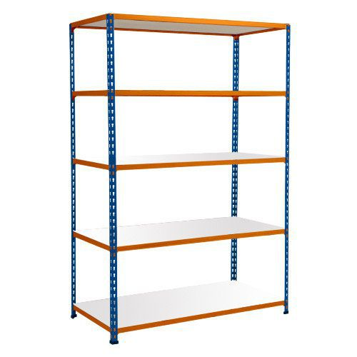 Rapid 2 Shelving (1600h x 1220w) Blue & Orange - 5 Melamine Shelves