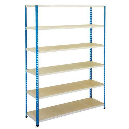Rapid 2 Shelving (1600h x 1220w) Blue & Grey - 6 Melamine Shelves