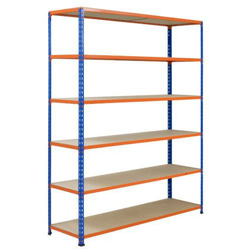 Rapid 2 Shelving (1600h x 1220w) Blue & Orange - 6 Chipboard Shelves