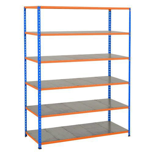 Rapid 2 Shelving (1600h x 1220w) Blue & Orange - 6 Galvanized Shelves