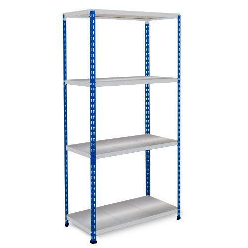 Rapid 2 Shelving (1600h x 1220w) Blue & Grey - 4 Galvanized Shelves