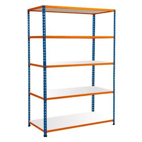 Rapid 2 Shelving (1600h x 1525w) Blue & Orange - 5 Melamine Shelves