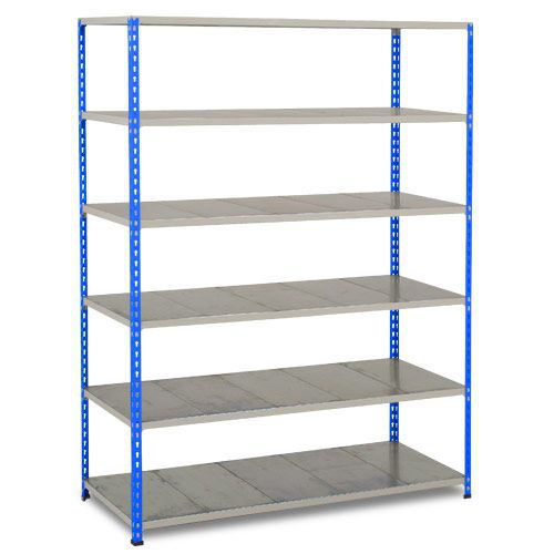 Rapid 2 Shelving (1600h x 1525w) Blue & Grey - 6 Galvanized Shelves
