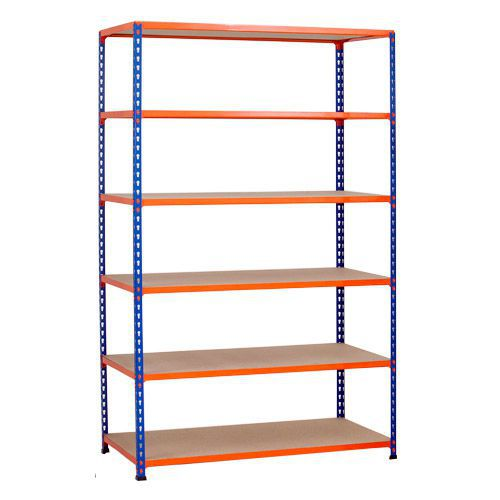 Rapid 2 Shelving (1600h x 1525w) Blue & Orange - 6 Chipboard Shelves