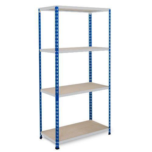 Rapid 2 Shelving (1600h x 1525w) Blue & Grey - 4 Chipboard Shelves
