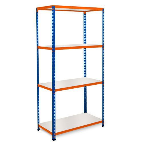 Rapid 2 Shelving (1600h x 1525w) Blue & Orange - 4 Melamine Shelves