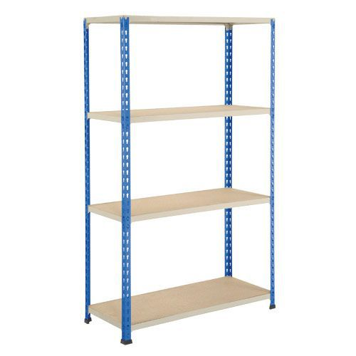 Rapid 2 Shelving (1980h x 915w) Blue & Grey - 4 Chipboard Shelves
