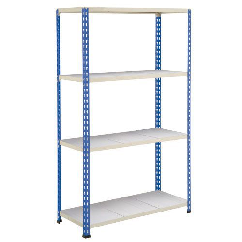 Rapid 2 Shelving (1980h x 915w) Blue & Grey - 4 Galvanized Shelves