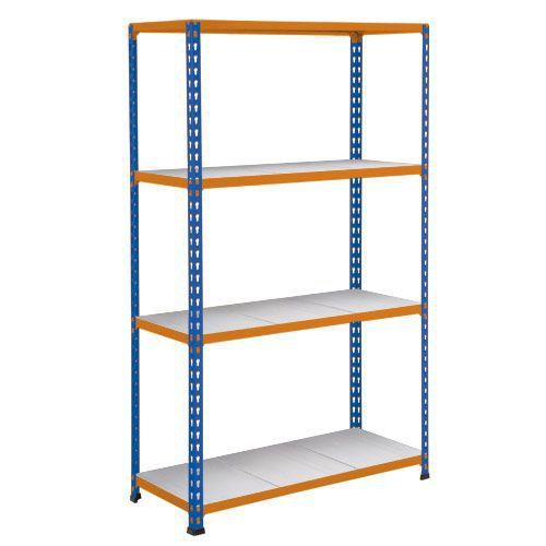 Rapid 2 Shelving (1980h x 915w) Blue & Orange - 4 Galvanized Shelves