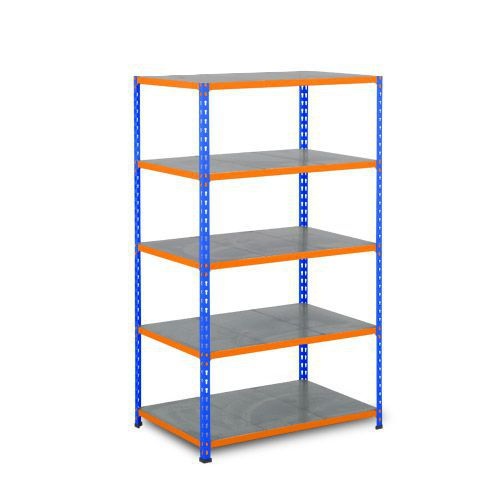 Rapid 2 Shelving (1980h x 915w) Blue & Orange - 5 Galvanized Shelves