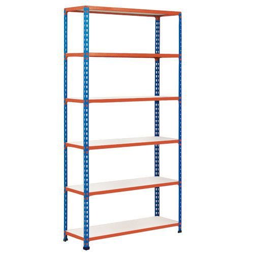 Rapid 2 Shelving (1980h x 915w) Blue & Orange - 6 Melamine Shelves