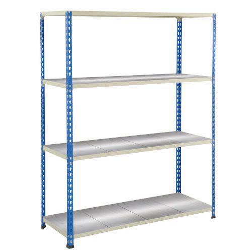 Rapid 2 Shelving (1980h x 1220w) Blue & Grey - 4 Galvanized Shelves