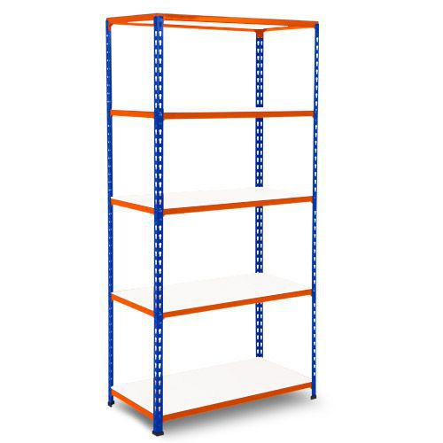 Rapid 2 Shelving (1980h x 915w) Blue & Orange - 5 Melamine Shelves