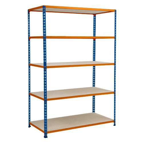Rapid 2 Shelving (1980h x 1525w) Blue & Orange - 5 Chipboard Shelves