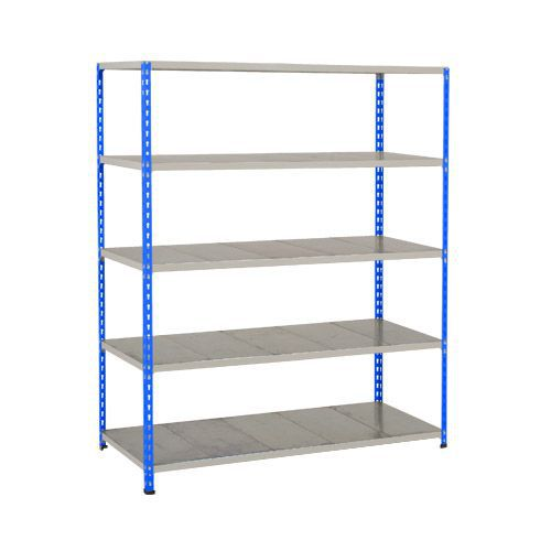 Rapid 2 Shelving (1980h x 1525w) Blue & Grey - 5 Galvanized Shelves