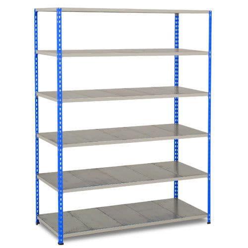 Rapid 2 Shelving (1980h x 1525w) Blue & Grey - 6 Galvanized Shelves