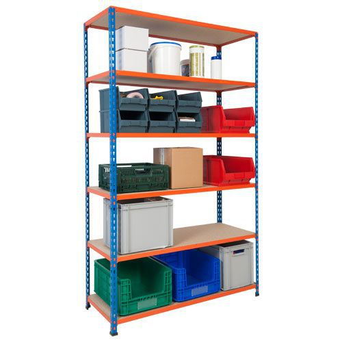 Rapid 2 Shelving (1980h x 1220w) Blue & Orange - 6 Chipboard Shelves
