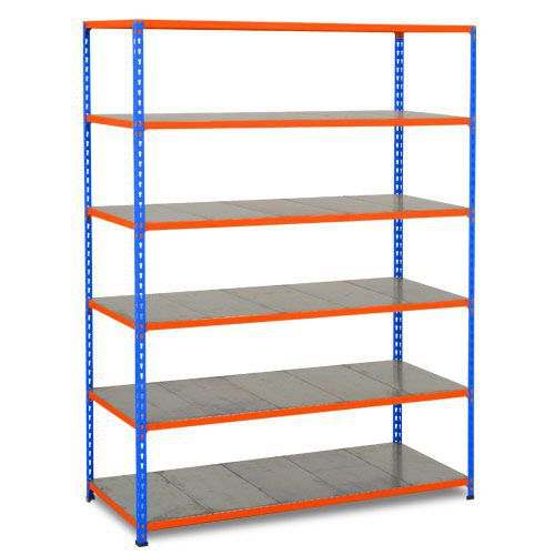 Rapid 2 Shelving (1980h x 1525w) Blue & Orange - 6 Galvanized Shelves