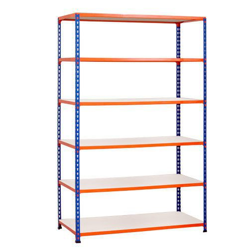 Rapid 2 Shelving (1980h x 1220w) Blue & Orange - 6 Melamine Shelves