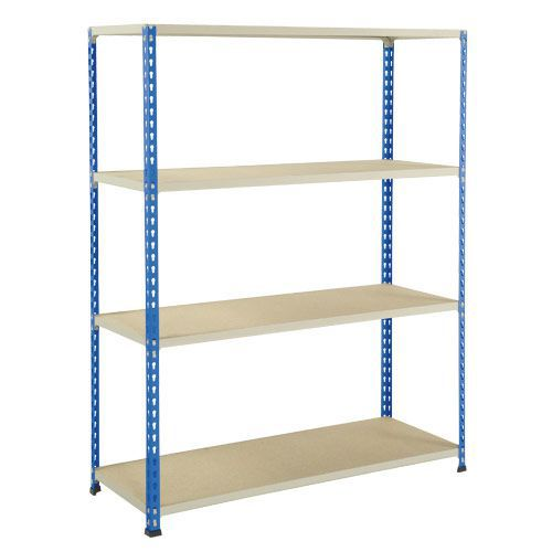 Rapid 2 Shelving (1980h x 1525w) Blue & Grey - 4 Chipboard Shelves