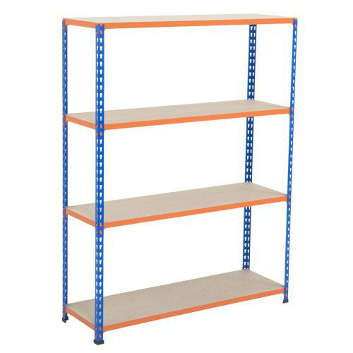 Rapid 2 Shelving (1980h x 1525w) Blue & Orange - 4 Chipboard Shelves