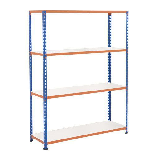Rapid 2 Shelving (1980h x 1525w) Blue & Orange - 4 Melamine Shelves