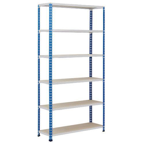 Rapid 2 Shelving (2440h x 915w) Blue & Grey - 6 Chipboard Shelves