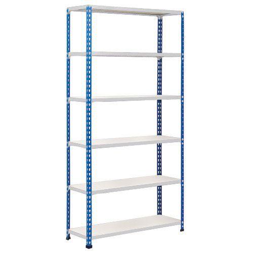 Rapid 2 Shelving (2440h x 915w) Blue & Grey - 6 Melamine Shelves